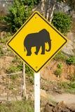 Olifant die verkeersteken in Thailand kruist stock foto's