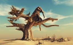 Olifant in een droge boom stock illustratie