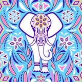 Olifant en abstracte bloemen royalty-vrije illustratie