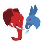 Olifant en ezel Republikeinen en Democratenoppositie Polit Royalty-vrije Stock Afbeeldingen