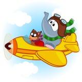 Olifant en muis op het vliegtuig stock illustratie