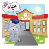 Olifant en school Stock Afbeelding