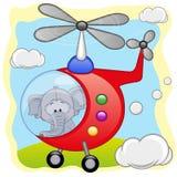 Olifant in helikopter stock illustratie