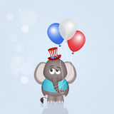 Olifant met ballons voor 4 Juli Royalty-vrije Stock Fotografie