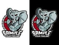 olifant met de moderne dierlijke mascotte van de fietsketting voor esportembleem en t-shirtillustratie Stock Foto's