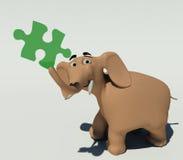 Olifant met een raadsel Stock Illustratie
