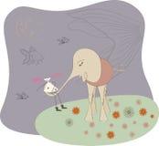 Olifant met het meisje op nachtgang. vector illustratie
