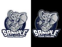 olifant op rond gemaakte achtergrond in modern dierlijk mascotteembleem voor esportembleem en t-shirtillustratie Stock Foto's