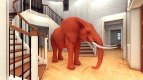 Olifant in woonkamer het 3d teruggeven Stock Afbeeldingen