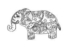 Olifant in zentanglestijl Vector Illustratie