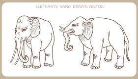 Olifanten in Indische stijl Hand getrokken silhouet Vector illustratie Olifantstatoegering Stock Foto