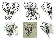 Olifants hoofdsymbolen en olifants hoofdplonsen Royalty-vrije Stock Foto's