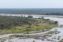 Olifants obozu krajobrazu widok w Kruger parku, Południowa Afryka Zdjęcia Stock