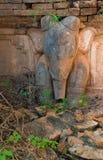 Olifantsbeeld in oude Birmaanse Boeddhistische pagoden Stock Afbeeldingen