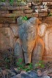 Olifantsbeeld in oude Birmaanse Boeddhistische pagoden Stock Foto's