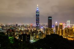 Olifantsberg, het beste meningspunt van de Stad van Taipeh Stock Fotografie