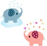 Olifantsillustraties, Roze Olifant, Blauwe Olifant vector illustratie
