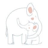 Olifantsmoeder en kind stock illustratie