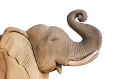 Olifantsstandbeeld, op witte achtergrond wordt geïsoleerd die Royalty-vrije Stock Foto's