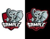 olifantsstijging omhoog zijn wapen van moderne dierlijke mascotte voor esportembleem en t-shirtillustratie Royalty-vrije Stock Afbeelding