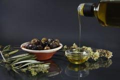 Olijf en olijfolie Stock Afbeeldingen