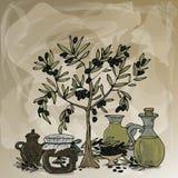 Olijfboom, fles met olijfolie, vat met ingelegde olijven en kruik etiket Ruimte voor tekst Hand-drawn vector royalty-vrije illustratie