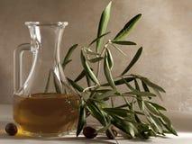 Olijfolie in een Olie-en azijnstelletje royalty-vrije stock foto's
