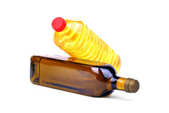 Olijfolie en de olieflessen van de Zonnebloem Stock Afbeelding