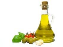 Olijfolie en groente Stock Foto's