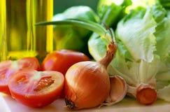 Olijfolie en groenten. royalty-vrije stock foto
