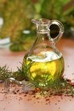 Olijfolie en rozemarijn Stock Afbeelding