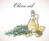 Olijfolie en rozemarijn Royalty-vrije Stock Afbeeldingen