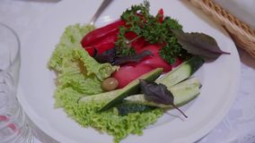 Olijfolie het gieten over gemengde salade stock footage