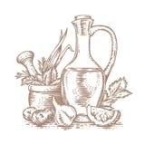 Olijfolie, kruiden en kruiden Stock Afbeelding