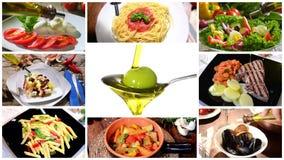 Olijfolie in mediterrane keuken, collage stock videobeelden