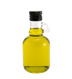 Olijfolie in originele fles op een wit Stock Afbeelding