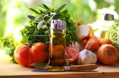 Olijfolie, tomaat en kruiden Stock Foto's