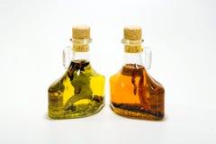 Olijfolieflessen Stock Fotografie