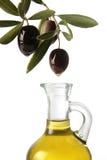 Olijven die olijfolie gieten Royalty-vrije Stock Afbeeldingen