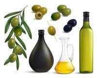Olijven en Olie Realistische Reeks royalty-vrije illustratie