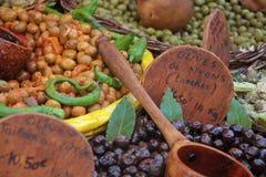 Olijvenclose-up - de markt Frankrijk van de Provence Royalty-vrije Stock Afbeeldingen