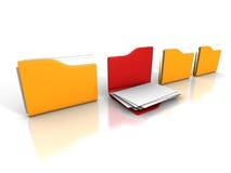 Olik öppnad mapp för kontorsdokumentpapper Arkivfoton