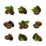 Olik bönauppsättning för realistiskt kaffe 3d vektor stock illustrationer