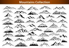 Olik bergskedjakontursamling stock illustrationer