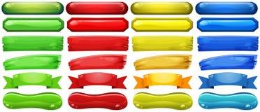 Olik design av knappar i fyra färger vektor illustrationer