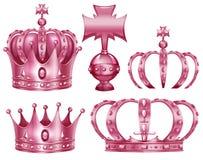 Olik design av kronor i rosa färgfärg stock illustrationer