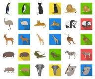 Olik djurtecknad film, plana symboler i den fastställda samlingen för design Det fågel-, rovdjur- och herbivorvektorsymbolet lage stock illustrationer