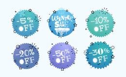 Olik etikettsvektoruppsättning Vinterförsäljningsbaner vektor illustrationer