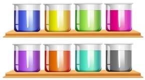 Olik färgkemikalie i dryckeskärlar stock illustrationer