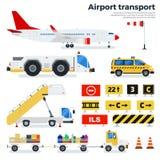 Olik flygplatstransport på vit bakgrund Royaltyfria Bilder